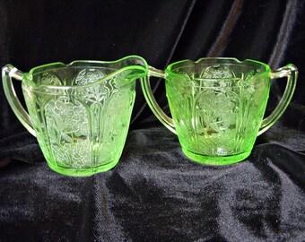 JEANNETTE CHERRY BLOSSOM Uranium Green Glass Cream and Sugar