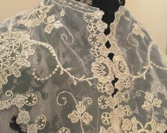Antique// Victorian// Silver Metallic Embroidered Collar// Fine Netted Tulle// Rework// Sewer's Dream// Estate Find// A Stunning Piece!