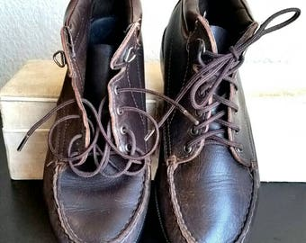 Vintage Dexter Boots Lace up Ankle Boots Walking Chukka Boots 80s - 90s Womens Brown Leather Grunge Footwear