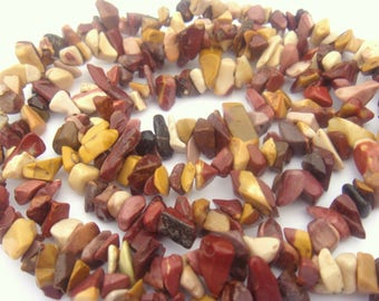 50 'chips' assorted natural Moukaite Jasper beads