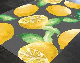 Lemon Decor, Kitchen Rug, Tropical Rug, Citrus, Dining Room, Kitchen Floor