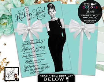 Breakfast at Tiffany's Invitations, Audrey Hepburn Bridal Shower invitation, little black dress, 5x7 double sided. Digital File Only!