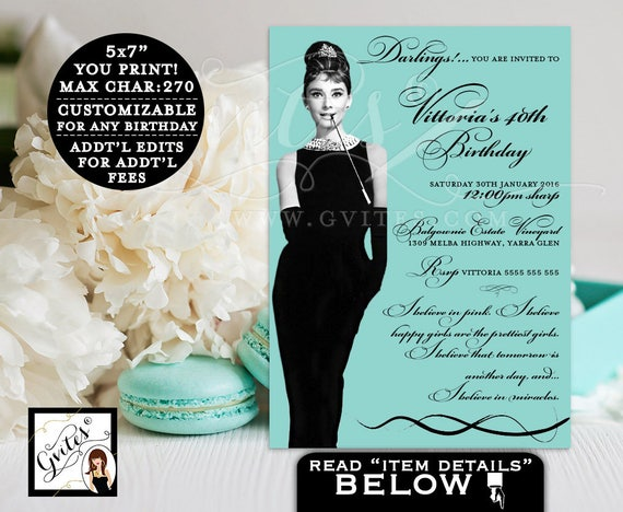 Audrey Hepburn 40th birthday printable invitations, Audrey Hepburn party blue theme, breakfast invite, invitation, Audrey party printables.