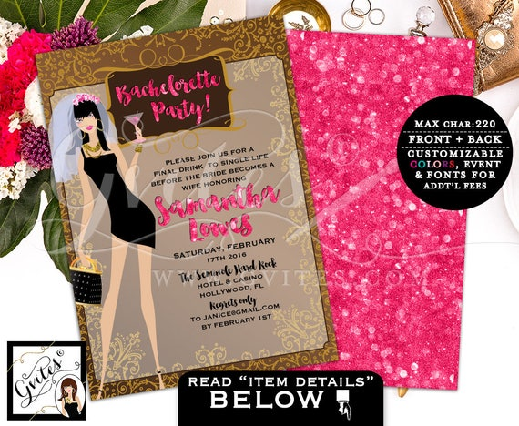 Bachelorette Party Invites, bachelorette party invitation, wedding shower, bridal shower printable template, glitz glam, pink and gold, 5x7