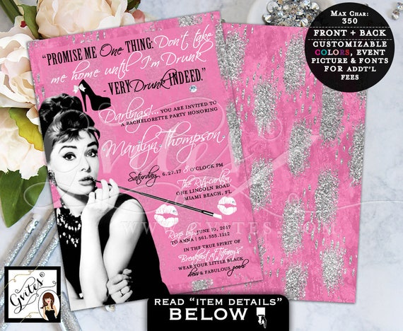 Breakfast at Tiffany's Bachelorette, pink and silver glitter, breakfast at Audrey Hepburn themed event, wedding shower, glitz and glam, 5x7.