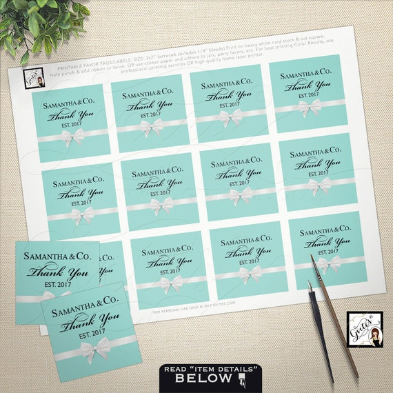 """Thank you tags, stickers, labels, baby and co, breakfast at blue, personalized party favors, cupcake toppers, 2x2"""" 12/Per Sheet. PRINTABLE"""