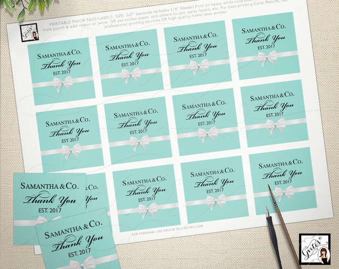 "Thank you tags, stickers, labels, baby and co, breakfast at blue, personalized party favors, cupcake toppers, 2x2"" 12/Per Sheet. PRINTABLE"