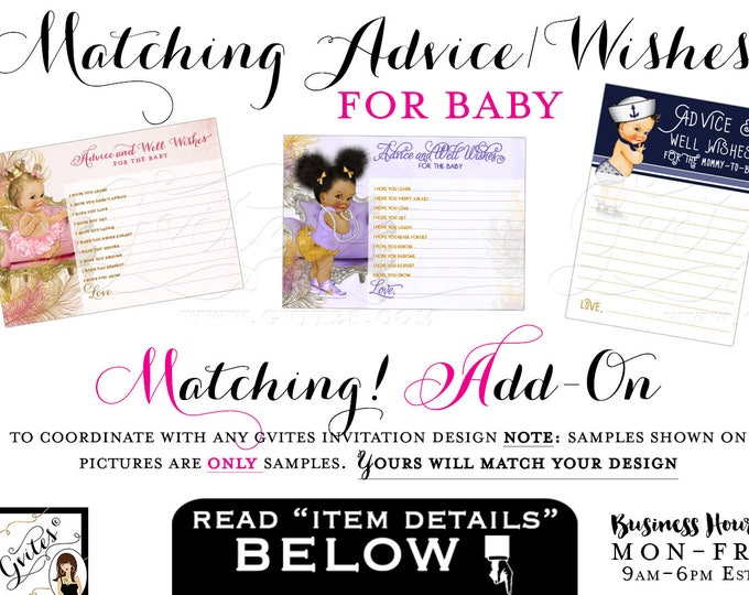 Matching Advice Card Well Wishes For Baby Add-on - To coordinate with any Gvites invitation design. Turnaround 3 Business Days