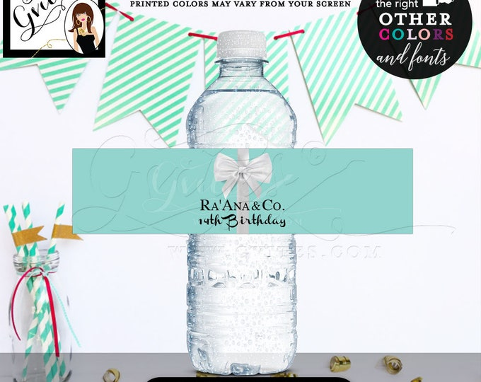 """14th Birthday Water Bottle Labels, blue & Co Stickers breakfast at blue {REALISTIC SATIN RIBBON} 8x2""""/5 Per Sheet Digital File Only!"""