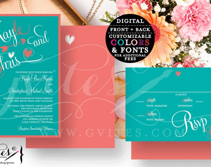 Coral and Turquoise wedding invitation, digital template, guest info card text customizable, Double sided invite+rsvp card. {You Print}