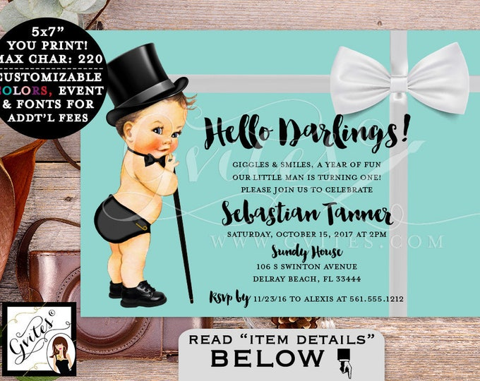 Baby and Co party invitation, breakfast at and co themed, turquoise blue and white, little man, first birthday invites, digital, 7x5