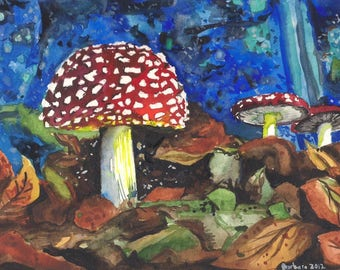 'Adorable fly agaric' painting on paper