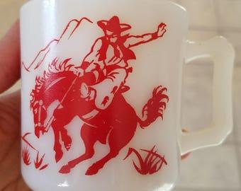 Vintage Hazel Atlas White Milk Glass Bucking Bronco and Indian on Horse Mug
