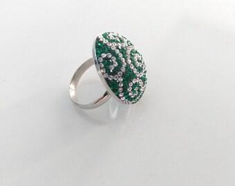 Sterling Silver Ring, Silver Ring, Swarovski Crystal Ring, Green Swarovski Crystal