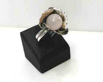 Sterling Silver Ring ,Silver Ring ,Rose silver Ring ,Moonstone Ring , Ways Model Ring