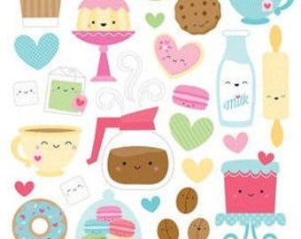 ONE week sale only Doodlebug Design - Cream and Sugar Collection - Cardstock Stickers - Icons