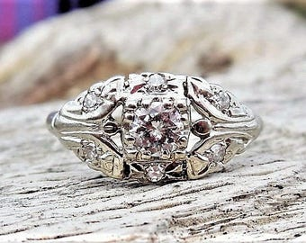 Art Deco Engagement Ring .42ct Diamond Engagement Ring Unique Engagement Ring Antique Vintage 14k White Gold