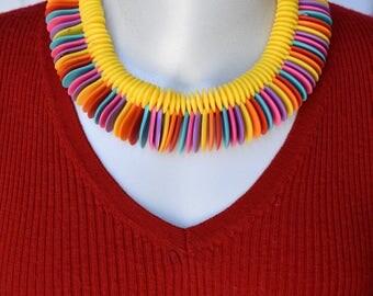 Multi Color Plastic Disc Necklace Vintage