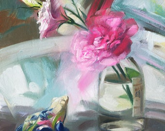 Pink flower oil painting Original art Realistic Floral art Painting Porcelain Frog For her Birthday gift for Wife