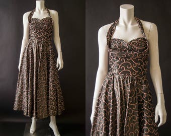 vintage 1950s dress / 50s embroidered pewter party dress / xs