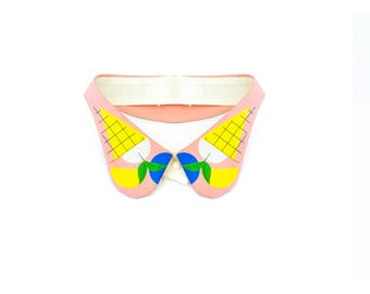 Ice-cream party / Detachable Hand-printed Collar / Illustration Emil Wikström / Classic spread-collar necklace