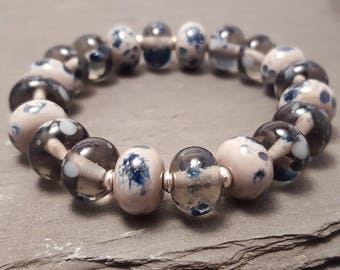 Lampwork Glass Bead Stretch Bracelet - Grey with blue sparkle, Handmade with Silver tone or Sterling Silver accent beads