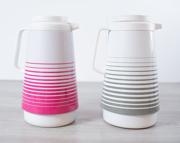 Vintage Striped Thermos Pitcher / 1960's Mod Banded Hot Pink and Grey and White Glass lined Camping Insulated Thermos Pitcher Carafe