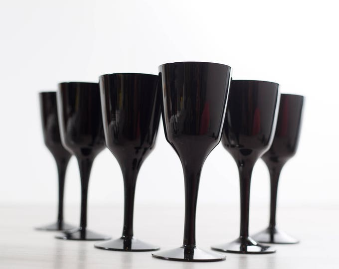 Scandinavian Black Wine Glasses / Set of 6 Royal Krona Älghult Glasbruk Made in Sweden Cocktail Aperitif Glassware Barware Art Glass