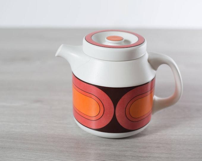 Vintage Arzberg Teapot / Feurfest Germany Orange and Red Mid Century Modern Retro Coffee Pot / Ceramic Boho Scandinavian Style Pottery