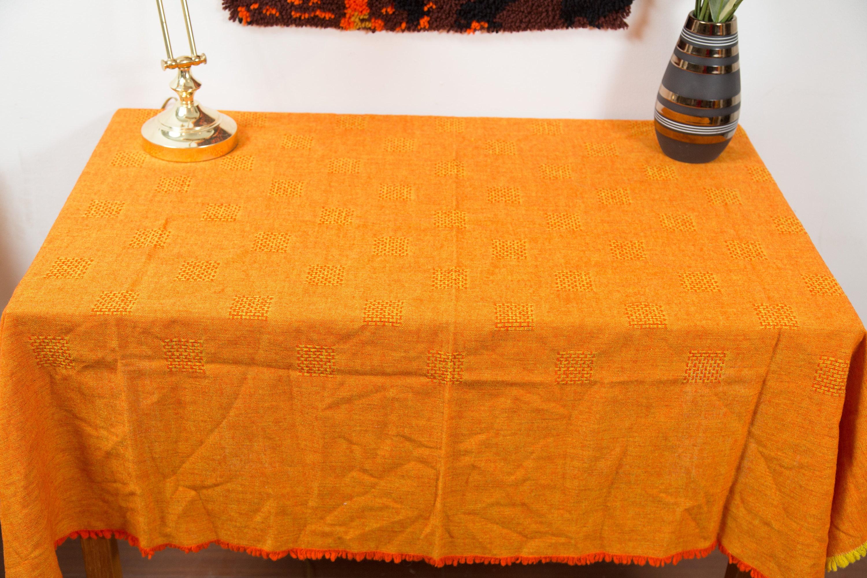 Vintage Burnt Orange Tablecloth 1970 s Square Criss Cross Pattern
