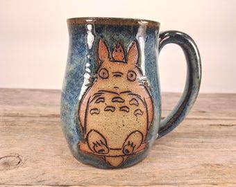 Totoro Mug - 16 oz Earthy Blue Wheel Thrown Hand Carved Studio Ghibli Coffee Cup