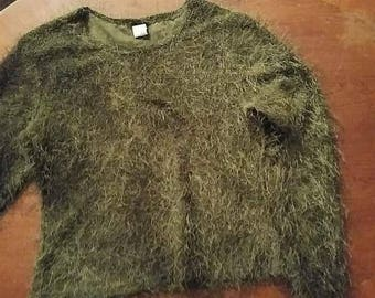 90's Fuzzy Sweater- Remember those?! Size Large