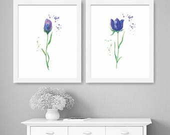 Set Of 2 Flowers Watercolor Art Prints, Colorful Wall Art, Home Decor,  Watercolor