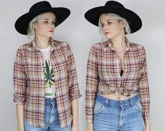 80s Plaid Button Up Shirt, Size Small, Western, Boys Long Sleeved Shirt, Brown Plaid, BILLY THE KID, Extra Small, Button Down