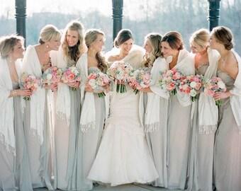 Ivory pashmina scarf shawl / personalized initial shawl / bridesmaid shawl / wedding favor / spring summer wedding /