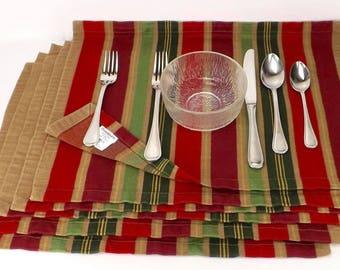 dining linen lot, kitchen table linens, 6 stripe placemats, Crate Barrel linens, Natale pattern linen, multi color placemat, cotton placemat