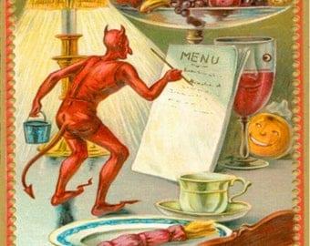 Halloween, Devil Demon Fruit Lamp Menu Postcard Z756013