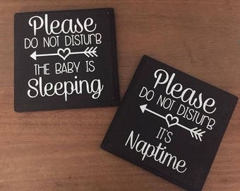 Please Do Not Disturb The Baby Is Sleeping Wood Sign