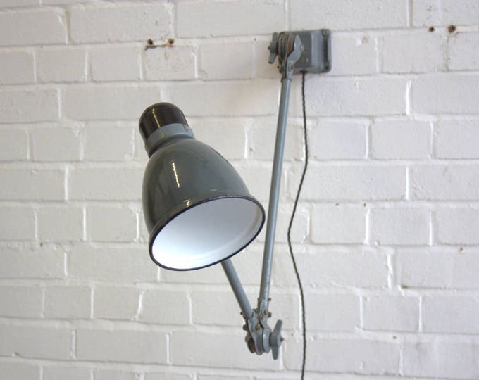 Wall Mounted Industrial Task Lamp By Fabrilux Disco Circa 1930s