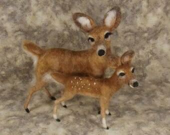 Needle felted Animal, Needle felted deer, Needle felted Doe and Fawn, Needle felted white tailed deer