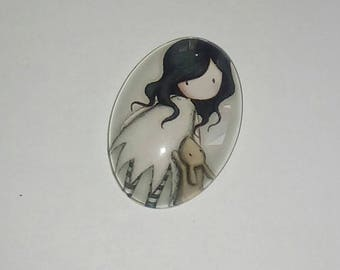 X 1 Cabochon oval glass girl