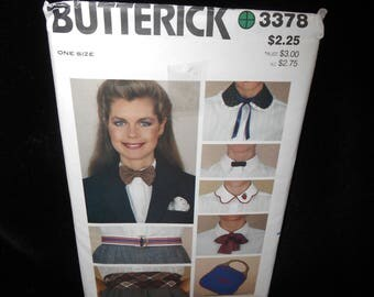 Misses Bow Ties Belts Accessories Butterick 3378 Womens Accessories Ties Belts Handkerchief Handbag