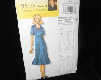 Misses Dress Butterick B5155 Connie Crawford Womens Shift Dress Extra Small- Extra Large