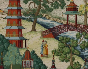 5,5 yards Manuel Canovas Paris - Pagoda fabric chinoiserie scenic (also available by the yard)