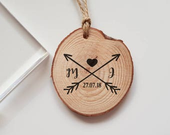 Wedding Arrows Rubber Stamp with Initials and Date