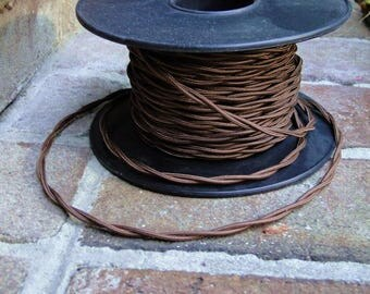50' Antique Brown Rayon Cloth Electrical Wire, Old Cord Lamp Parts