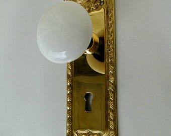 Victorian Reproduction Door Hardware Passage Set White Porcelain Knobs