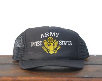 Vintage United States Army Veteran War Soldier Military Eagle America Infantry Trucker Hat Snapback Baseball Cap