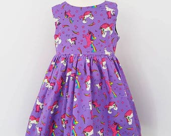 Unicorn dress, purple dress, rainbow party, unicorn party, kids clothing, uk