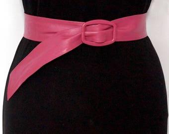 Hot Pink Fuschia Leather Belt, Vintage W. Germany ASTOR Pink Waist Cincher, Small Adjustable Belt, 80s Fashion Accessories